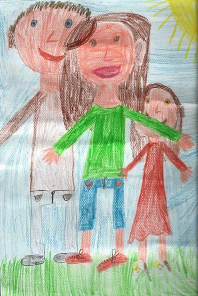 Das ist ein von einem Kind gemaltes Bild und zeigt eine Familie mit Vater, Mutter, Kind. Erziehungsberatung hilft für gute Beziehungen in der Familie.