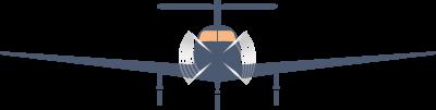 Das Bild zeigt ein Flugzeug mit Propellern. Es symbolisiert Kraft, Selbstvertrauen und Zielorientierung gegen Überlastung und Burnout